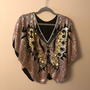 Tops - Beautiful vintage sequined butterfly top size PS